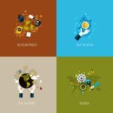 Os ícones para reciclar, salvar a água, salvar o planeta e vão gree Fotografia de Stock