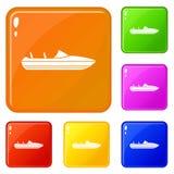 Os ícones pequenos do powerboat ajustaram a cor do vetor ilustração royalty free