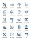 Os ícones pessoais & do negócio da finança ajustaram 1 - série azul Foto de Stock