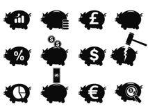 Os ícones Piggy ajustaram-se Imagens de Stock