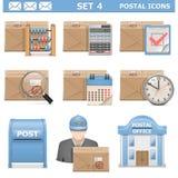 Os ícones postais do vetor ajustaram 4 Fotografia de Stock Royalty Free