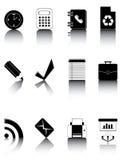 Os ícones preto e branco ajustaram 3 Fotografia de Stock