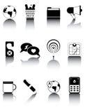 Os ícones preto e branco ajustaram 4 Fotos de Stock