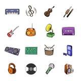 Os ícones pretos da música ajustaram desenhos animados Foto de Stock