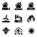 Os ícones pretos do vetor ajustam-se com riscos e perigos das catástrofes naturais, que são tomadas em consideração no seguro do  ilustração royalty free