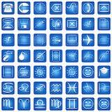 Os ícones quadrados azuis ajustaram a parte 3 ilustração do vetor