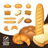 Os ícones realísticos ajustaram produtos da padaria do pão diferente dos ângulos, pão cortado, um naco, um bagel ilustração stock