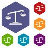 Os ícones retros das escalas ajustaram o hexágono Imagens de Stock Royalty Free