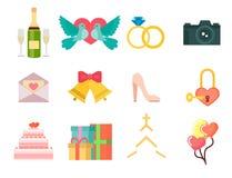 Os ícones romances dos pares da decoração do aniversário liso ajustado da celebração do convite do casamento vector a ilustração ilustração do vetor