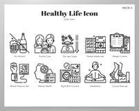 Os ícones saudáveis da vida alinham o bloco ilustração royalty free