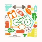 Os ícones saudáveis do estilo de vida e do esporte ajustaram a ilustração do vetor no estilo liso dos desenhos animados ilustração do vetor