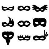 Os ícones simples das máscaras do preto de rio do carnaval ajustaram eps10 Foto de Stock Royalty Free