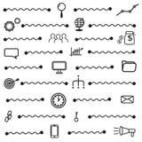 Os ícones simples do seo ajustam-se, textura básica dos elementos do seo e modelam-se sem emenda ilustração stock