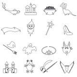 Os ícones simples pretos do esboço dos contos de fadas ajustaram eps10 Imagem de Stock Royalty Free