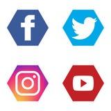 Os ícones sociais ajustaram o instagram youtube do gorjeio do fb ilustração do vetor