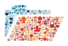 Os ícones sociais dos media ajustaram a composição do dobrador Imagens de Stock