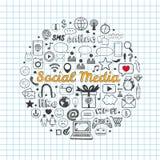 Os ícones sociais dos media ajustaram-se Fotos de Stock