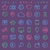 Os ícones sociais dos media ajustaram-se Foto de Stock