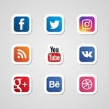 Os ícones sociais dos meios ajustaram o vetor das etiquetas Imagens de Stock Royalty Free