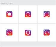 Os ícones sociais dos meios ajustaram-se, instagram da câmera da foto Imagem de Stock