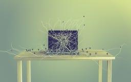 Os ícones sociais dos meios ajustaram-se na raiz que cresce fora do portátil Fotografia de Stock Royalty Free