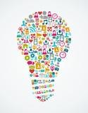 Os ícones sociais dos meios isolaram a ampola EPS10 da ideia  Fotografia de Stock Royalty Free