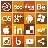 Os ícones sociais lisos dos meios do vintage ajustaram 2 Imagem de Stock
