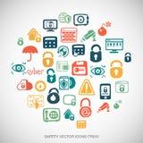 Os ícones tirados da segurança das garatujas da segurança mão multicolorido ajustaram-se no branco Ilustração do vetor EPS10 Imagem de Stock Royalty Free