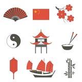 Os ícones tradicionais asiáticos dos símbolos da cultura do curso de China ajustados isolaram a ilustração 2 do vetor Foto de Stock