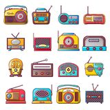 Os ícones velhos do dispositivo da música de rádio ajustaram-se, estilo dos desenhos animados Fotografia de Stock