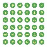 Os ícones verdes do eco ajustaram-se Fotografia de Stock Royalty Free