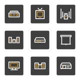 Os ícones video audio do Web, cinza abotoam a série Imagens de Stock