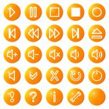 Os ícones video audio dos media ajustaram no.1 - laranja Imagem de Stock
