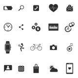 Os ícones wearable da tecnologia do relógio esperto ajustaram a ilustração do vetor Fotos de Stock