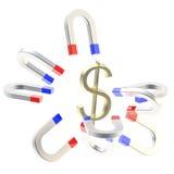 Os ímãs em ferradura atraem o símbolo dourado do dólar dos EUA Imagens de Stock