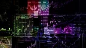 Os índices do mercado de valores de ação estão movendo-se no espaço virtual Crescimento econômico, retirada ilustração stock