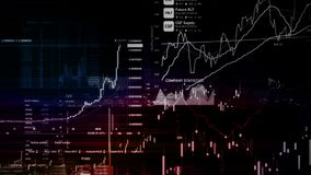 Os índices do mercado de valores de ação estão movendo-se no espaço virtual Crescimento econômico, retirada ilustração royalty free