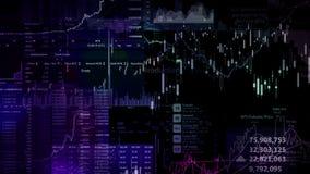 Os índices do mercado de valores de ação estão movendo-se no espaço virtual Crescimento econômico, retirada ilustração do vetor