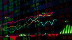 Os índices do mercado de valores de ação estão movendo-se no espaço virtual Crescimento econômico, retirada looped ilustração stock