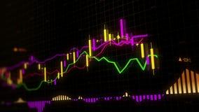 Os índices do mercado de valores de ação estão movendo-se no espaço virtual Crescimento econômico, retirada looped ilustração do vetor