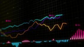 Os índices do mercado de valores de ação estão movendo-se no espaço virtual Crescimento econômico, retirada looped ilustração royalty free