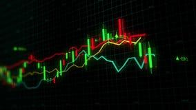 Os índices do mercado de valores de ação estão movendo-se no espaço virtual Crescimento econômico, retirada looped vídeos de arquivo