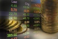 Os índices financeiros do estoque da exposição dobro com pilha inventam Fotografia de Stock Royalty Free