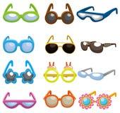 Os óculos de sol dos desenhos animados ajustaram o ícone Imagens de Stock