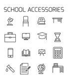 Os acessórios da escola relacionaram o grupo do ícone do vetor ilustração do vetor