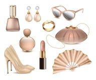 Os acessórios de forma fêmeas do vetor ajustaram os brincos brancos do fundo, vidros, batom, anel, verniz para as unhas, sapatas  ilustração royalty free