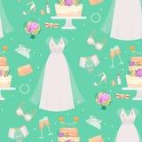 Os acessórios do vestido da noiva do casamento vector do esboço nupcial do chuveiro do estilo da forma o retrato acessório da sil ilustração do vetor