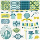 Os acessórios dos cavalheiros do vintage ajustados Fotografia de Stock Royalty Free