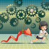 Os acionistas são de levantamento e de arrasto a seta vermelha no fundo da engrenagem no estilo dos desenhos animados ilustração stock
