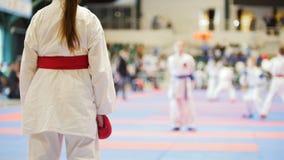 Os adolescentes dos esportes - caçoe desportistas no tatami do karaté - aprontam-se para a luta imagens de stock royalty free